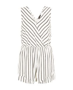 White Stripe Ruffle Trim Playsuit  | New Look