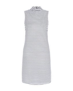 Black Stripe Funnel Neck Sleeveless Tunic Dress  | New Look
