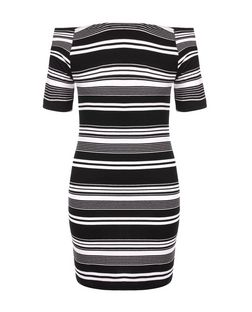 Monochrome Stripe Bardot Neck Bodycon Mini Dress  | New Look
