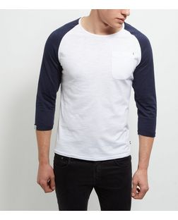Produkt Navy Contrast 3/4 Sleeve Top | New Look