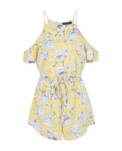 Yellow Tropical Print Cold Shoulder Playsuit | New Look