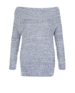Blue Ribbed Fisherman Knit Bardot Neck Jumper  | New Look