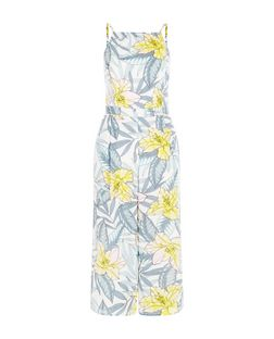 White Tropical Floral Print High Neck Culotte Jumpsuit  | New Look