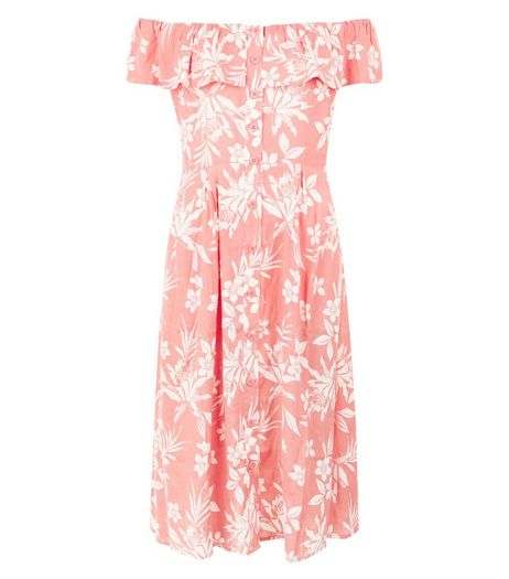 Pink Floral Print Bandeau Button Front Midi Dress  | New Look