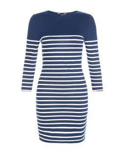 Blue Stripe 3/4 Sleeve Bodycon Mini Dress  | New Look
