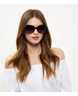 Black Oversized Embellished Sunglasses | New Look