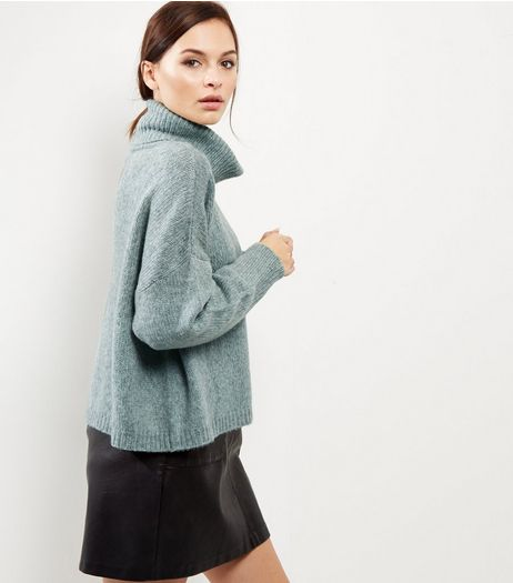 Light Green Cowl Neck Long Sleeve Cropped Jumper | New Look