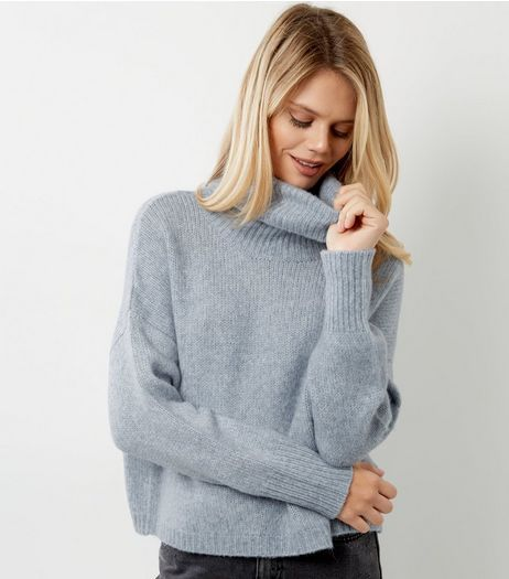 Pale Blue Cowl Neck Long Sleeve Cropped Jumper  | New Look