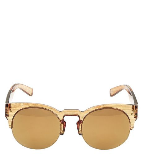 Gold Wood Print Sunglasses | New Look