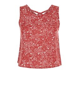 Teens Red Paisley Print Strap Back Top | New Look