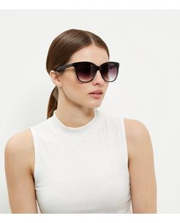 Black Quilted-Look Sunglasses  | New Look