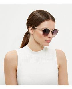 Gold Round Metal Sunglasses  | New Look