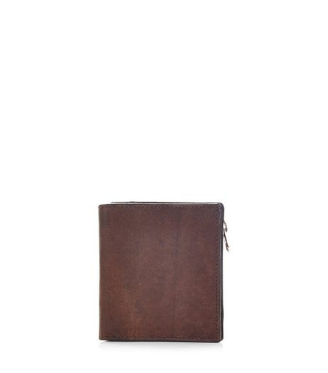 Dark Brown Leather Zip Wallet | New Look