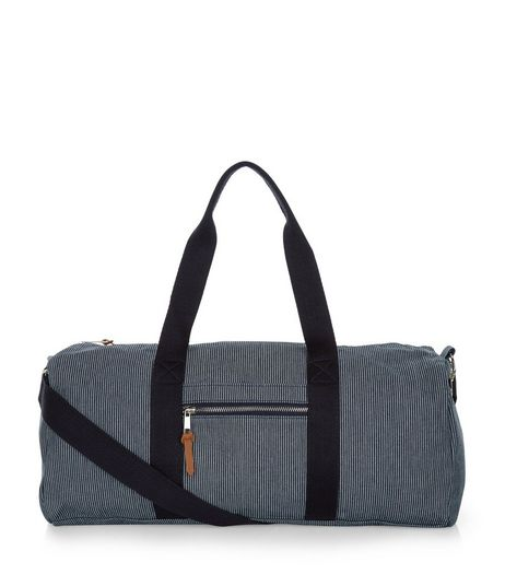 Navy Stripe Across Body Holdall  | New Look