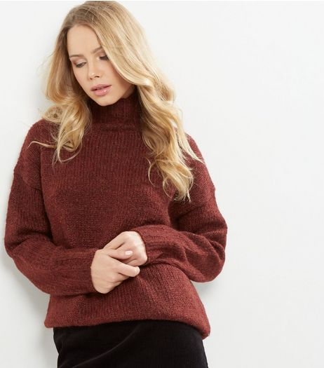 Burgundy Turtle Neck Jumper  | New Look