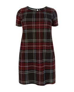Plus Size Navy Check Tunic Dress | New Look