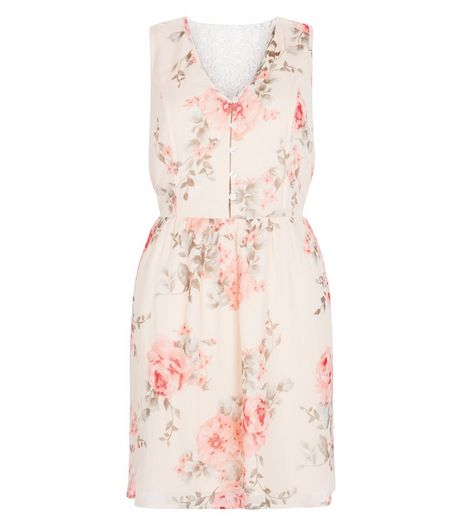 Cream Rose Print Button Front Crochet Back Dress  | New Look