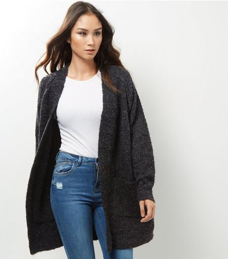 Dark Grey Boucle Textured Longline Cardigan | New Look