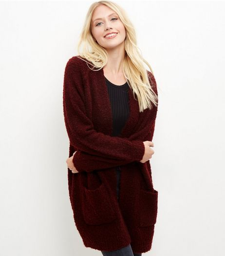 Burgundy Boucle Textured Longline Cardigan | New Look