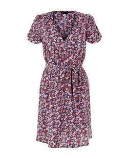 Blue Floral Print Tie Waist Wrap Front Dress  | New Look