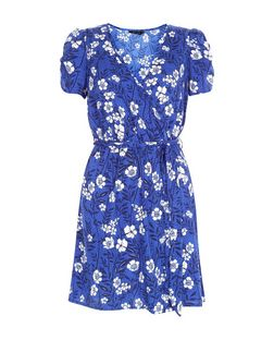 Blue Lily Floral Print Wrap Front Dress  | New Look