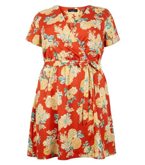 Curves Red Floral Print Wrap Dress | New Look