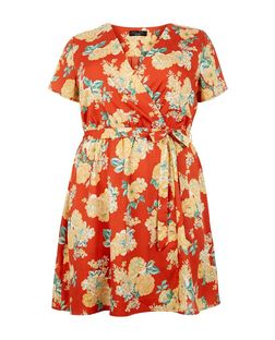 Plus Size Red Floral Print Wrap Dress | New Look