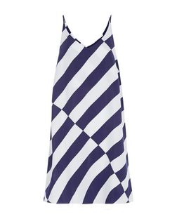 White Stripe Cami Slip Dress  | New Look