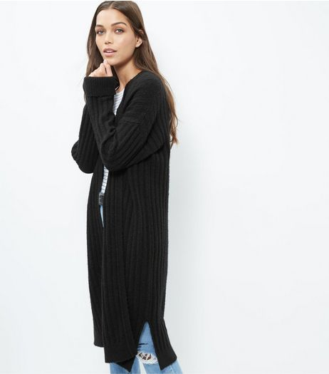 Black Ribbed Longline Cardigan  | New Look