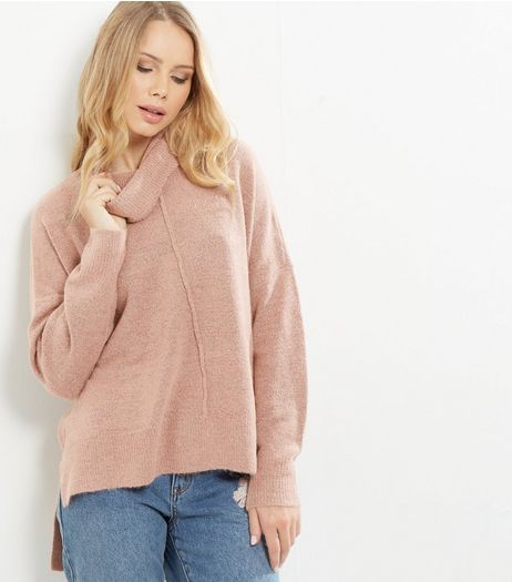 Mid Pink Cowl Neck Step Hem Jumper  | New Look