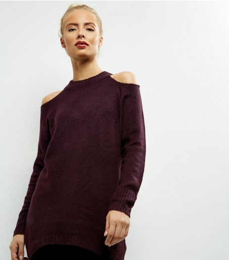 Burgundy Cold Shoulder Long Sleeve Jumper  | New Look