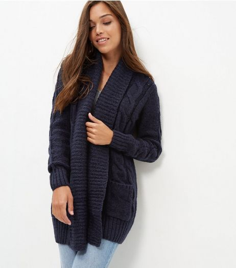 Navy Cable Knit Cardigan | New Look