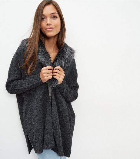 Dark Grey Faux Fur Collar Cardigan  | New Look