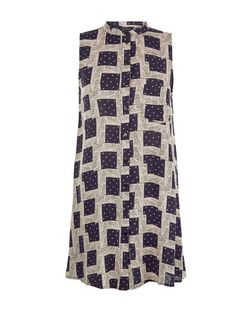 Blue Abstract Print Grandad Collar Sleeveless Dress  | New Look