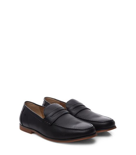 Black Leather-Look Loafers | New Look