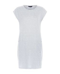 White Stripe Double Pocket Tunic Dress  | New Look