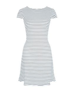 White Stripe Cap Sleeve Skater Dress | New Look