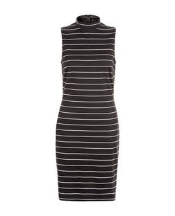 Black Stripe Funnel Neck Sleeveless Bodycon Dress  | New Look