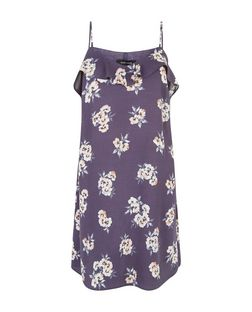 Grey Floral Print Ruffle Trim Slip Dress  | New Look