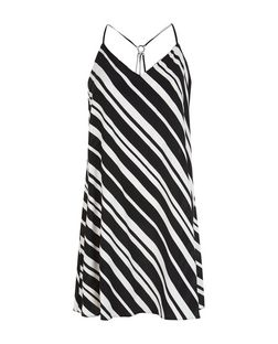 Black Stripe Ring Back Slip Dress | New Look