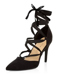 Wide Fit Black Suedette Pointed Ghillie Heels  | New Look