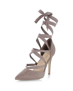 Wide Fit Light Brown Suedette Ribbon Ghillie Heels  | New Look