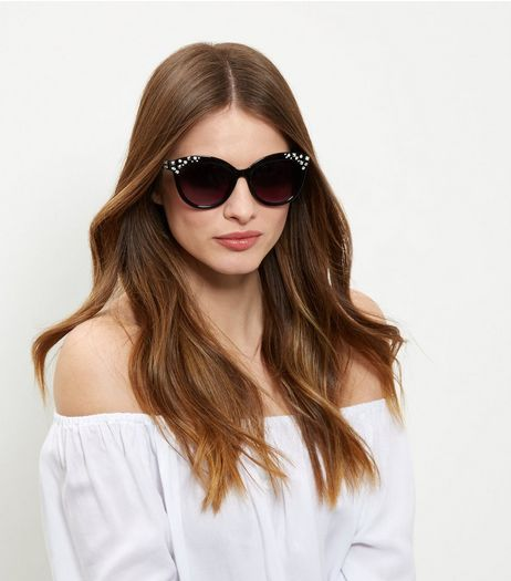 Black Embellished Side Cat Eye Sunglasses | New Look