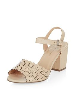Wide Fit Stone Leather-Look Laser Cut Out Block Heels | New Look