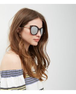 Brown Mirrored Tortoiseshell Print Sunglasses | New Look
