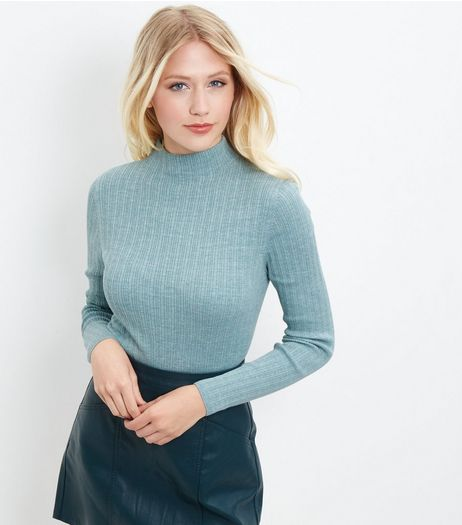 Light Green Ribbed Funnel Neck Cropped Jumper | New Look