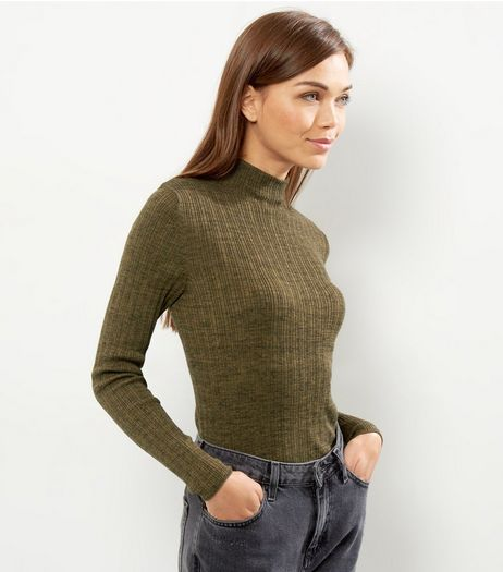 Olive Green Ribbed Funnel Neck Cropped Jumper  | New Look