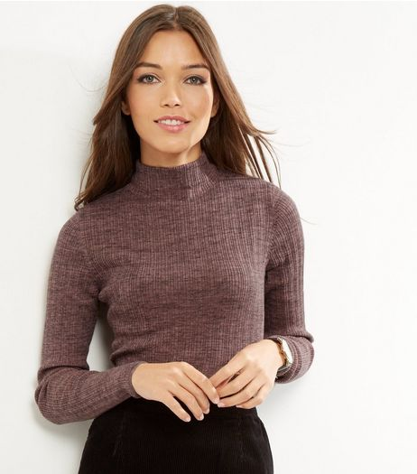 Mid Pink Ribbed Funnel Neck Jumper  | New Look