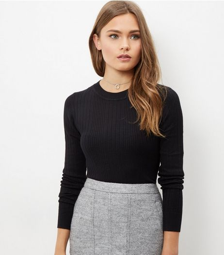 Black Ribbed Jumper  | New Look