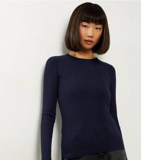 Navy Wide Ribbed Long Sleeve Jumper  | New Look